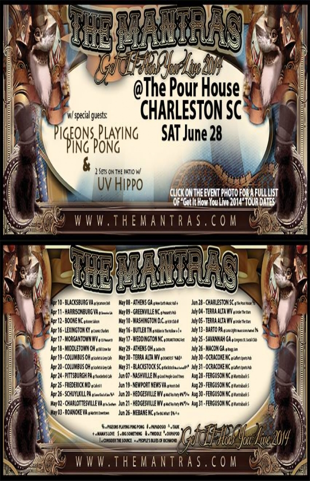 At the Charleston Pour House in Charleston, SC 06/28/14 with Pigeons Playing Ping Pong and UV Hippo